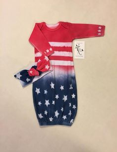 42f9f9dc5149 Newborn 4th of July Outfit, Baby Girl Gown, Baby Gown, Coming Home Outfit,  Baby Girl Clothes, Knot-b
