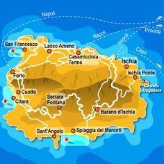 Carte de l'Île d'Ischia. Italie - La Campanie - Île d'Ischia.