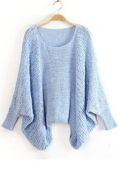 Blue Irregular Hollow-out Bat Sleeve Blend Sweater