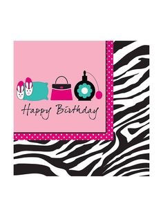 Pink Zebra Boutique Lunch Napkins, 3-Ply, Happy Birthday (16 pack) - Pink Zebra Party Supplies