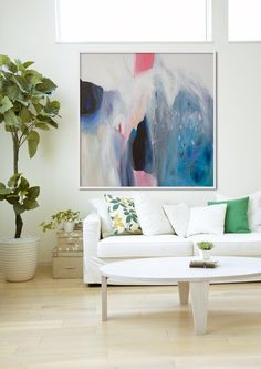 GICLEE print, blue abstract painting with pink and white. Modern painting by LolaDonoghue on Etsy