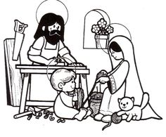 Holy Family at Nazareth Catholic Coloring Page for Children.  I love how Jesus is helping Mary with the wool :)