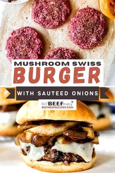 Our Mushroom Swiss Burger Recipe is a show-stopping gourmet burger filled with delicious caramelized onions and mushrooms, and Swiss cheese! via @bestbeefrecipes Hamburger Dishes, Hamburger Recipes, Meat Recipes, Cooking Recipes, Dinner Recipes, Caramelized Onions And Mushrooms, Stuffed Mushrooms, Stovetop Burgers