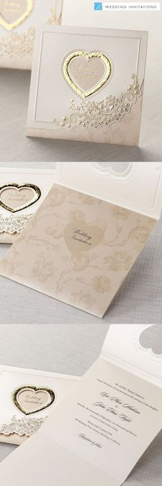 Gold Embossed Tri-Fold by B Wedding Invitations  #weddinginvitations  #wedding  #invitations