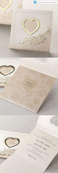 Gold Embossed Tri-Fold by B Wedding Invitations  #weddinginvitations  #wedding  #invitations