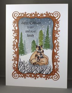 Foxes Christmas Card. Clarity stamps and Spellbinders Snowflakes View frame.