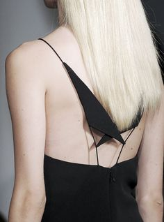 Geometric shapes & fine cord straps - black dress back; chic minimal fashion details // Cushnie et Ochs