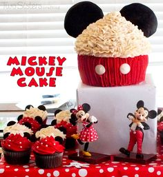 Mickey Mouse Cake for a Mickey Mouse Birthday Party #MickeyMouseParty #CupcakeCake #MickeyMouseCake
