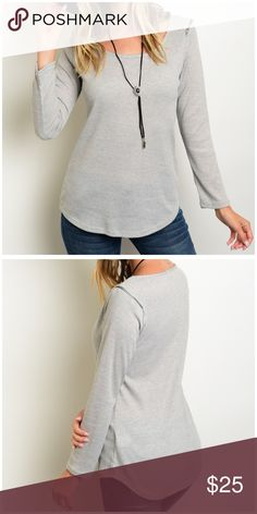 "Grey zipper shoulder ribbed top 🎀BUNDLE AND SAVE WITH OVER 100 STYLES TO CHOOSE FROM🎀Just in!! Long sleeve. Light grey ribbed top. Scoop neck. Zipper shoulder detail accent. Made in USA. 87% polyester 9% rayon 4% spandex. Casual and comfy, soft and stretchy. Small: 16"" pit to pit and length 26"". Medium: 17"" pit to pit and length 27"". Large: 18"" pit to pit and length 28"". New without tags CupofTea Tops Tees - Long Sleeve"