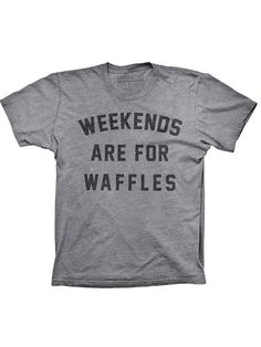 """Unisex """"Weekends Are For Waffles"""" Tee by Pyknic (Grey) #Inkedshop #Waffles #weekends #Unisex #wordtee"""