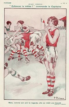 Ladies Rugby Cartoon 1920's...Don't worry you will have time to do your make-up... Play Rugby!