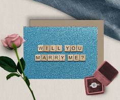 Will You Marry Me  Digital Download  5X7  Blue  Printable image 3 65th Birthday Cards, Happy Birthday Printable, 60th Birthday, Wedding Proposals, Marriage Proposals, Printable Cards, Printables, Scrabble Wedding, Scrabble Tile Art