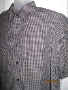 Mens ROUNDTREE & YORKE Dress Shirt Black White Mini Plaid Short Sleeve Cotton XL #roundtreeyorke