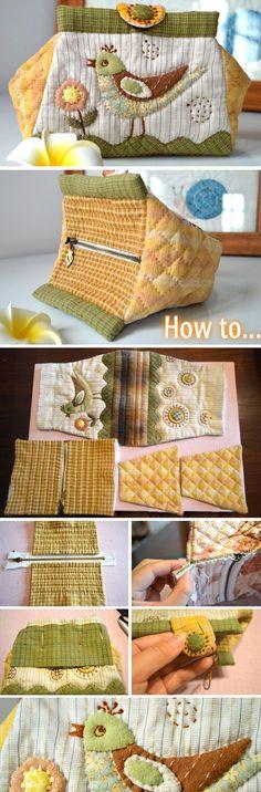 Folding Bag. Patchwork and Quilting. Photo Sewing Tutorial. Step by step DIY.   http://www.handmadiya.com/2016/02/folding-bag-tutorial-patchwork-and.html