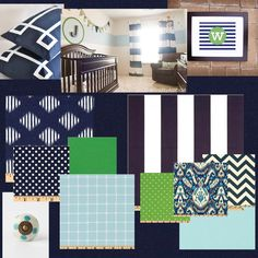 inspiration board: navy, light blue, white, and kelly green