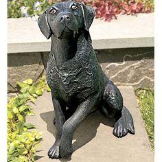 Ladybug Garden Decor Labrador Statue