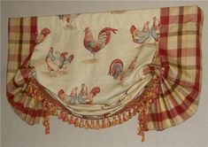 yellow rooster drapes | Custom French Country Balloon Valance Curtain Red Gold Rooster Toile ...