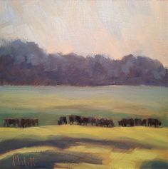 Heidi Malott Original Paintings: The Cows are Home Angus Cattle Original Oil Painti...