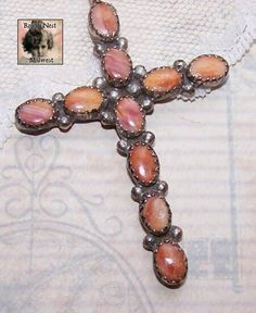 Native American/Southwest Indian STERLING SILVER & Spiny Oyster Cross Pendant! found on Ruby Lane