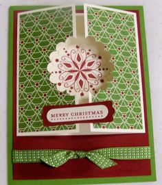2 Christmas card ideas in this link.  I like the fold for the card shown.  It can be used for various themes.