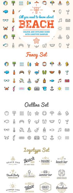Beach/Bar Icons and Logo Set by CkyBe on Envato Elements Icon Design, Logo Design, Beach Icon, Beach Logo, Surf, Summer Icon, Doodle Icon, Home Icon, Icecream Bar