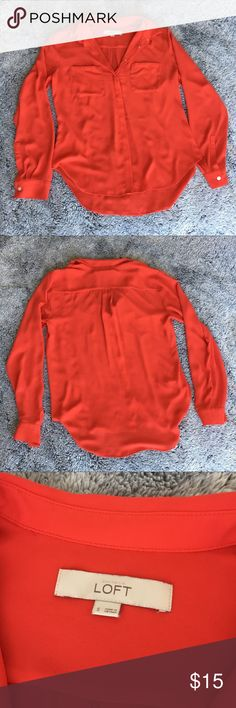 Loft Red/Orange Long Sleeve Blouse Loft reddish orange long sleeve blouse. Size S. Washed once. Cute when you roll up the sleeves! LOFT Tops Blouses