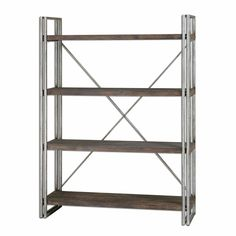 "Uttermost 24396 Greeley Metal Etagere   Dim: 14.75"" D x 47.25"" W x 63.5"" H  45 pounds Antiqued Silver Metal Frame  Walnut Stained, Weathered Fir Wood Shelf Planks.   $503.80"