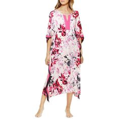 Ellen Tracy Floral Print Pullover Caftan Dress (365 NOK) ❤ liked on Polyvore featuring dresses, pink, long-sleeve floral dresses, floral dresses, kaftan dress, elbow length sleeve dress and pink cut out dress