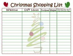 Free Printable Christmas Shopping List From Amy Johnson  She