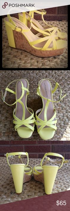 NWOB Antonio Melani Wedges PERFECT FOR A POOL PARTY OR DERBY! NWOB Lemon-lime strappy cork wedges. Gold embellishments. Never worn. SIZE 7.5 ANTONIO MELANI Shoes Sandals
