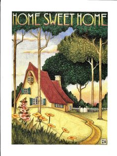 Home Sweet Home Handcrafted Red Roof Cottage Magnet Art by Mary Engelbreit Cute Cottage, Cottage Art, Mary Engelbreit, Art Deco Illustration, Illustrations, Storybook Cottage, Red Roof, Hollyhock, Arte Pop