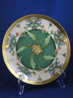 "Haviland Limoges Egyptian Revival Floral Design Plate (Signed ""O. Goess"" for Pickard Artist Otto Goess/c.1905-1910)"