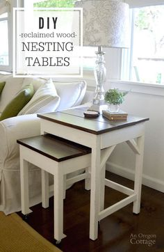 DIY reclaimed wood nesting tables made with simple plans from Ana White using old wood for bases, barn wood tops, & adding casters for an industrial feel.