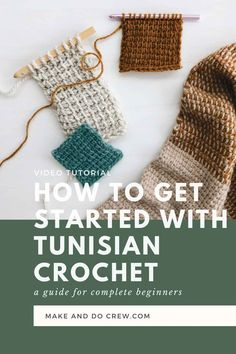 Free Tunisian crochet video tutorial from Make Tunisian Crochet Blanket, Tunisian Crochet Patterns, Modern Crochet Patterns, Crochet Patterns For Beginners, Knitting Tutorials, Lace Patterns, Crochet Granny, Knitting Patterns, Stitch Patterns