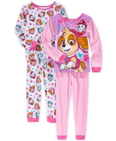 Ame Toddler Girls' Paw Patrol Knit 4-Piece Pajama Set