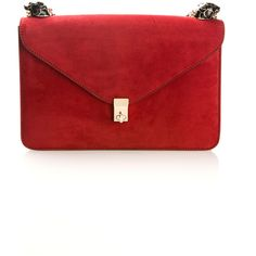 Valentino Red Suede Bag Adorned With Two Black And Gold Enamel... (120.940 RUB) ❤ liked on Polyvore featuring bags, handbags, clasp handbag, clasp purse, black gold purse, suede leather bag and valentino bag