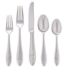 Lenox Stainless Butterfly Meadow 5-Piece Place Setting ($30) ❤ liked on Polyvore featuring home, kitchen & dining, flatware, stainless, place setting silverware, stainless silverware, stainless flatware, stainless utensils and stainless steel flatware