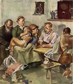 The Fuehrer Speaks, by Paul Padua (1939)  Family gathering around the 'People's Radio' to listen to a radio announcement by Hitler