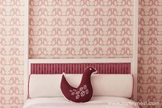 Pink and White Girl's Room with Penguin Wallpaper