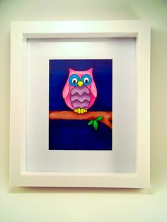 Original Illustration Art of pink owl  by SamfireGreetingCards, £15.00