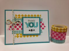 Simple design using Washi Tape and mini stamp by CTMH-- some Bakers Twine and sparkles to finish it off..