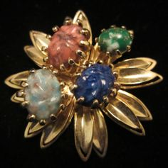 """Classic Vintage 2"""" Signed Gold Tone Art Glass Cabochon Statement Brooch A68"""