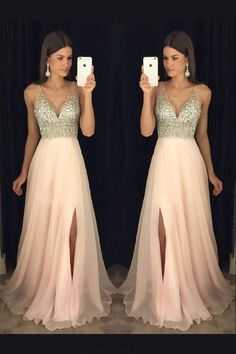 Evening Dresses Pink Prom Dress V-neck V Neck Evening Dresses Long Prom Dress Prom Dresses 2019 Prom Dresses Long Pink, Junior Prom Dresses, A Line Prom Dresses, Beautiful Prom Dresses, Ball Dresses, Dance Dresses, Homecoming Dresses, Pink Dress, Dress Prom