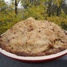 Mile-High Caramelized Pear & Cranberry Crumble Pie  vegan, plantbased, earth balance, made just right
