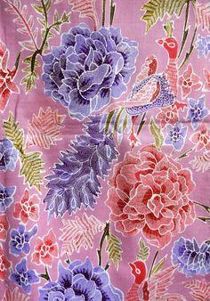 Detail of a hand painted, signed sarong from the Java North Coast Batik Art, Batik Prints, Batik Pattern, Pattern Art, North Coast, Floral Patterns, Silk Painting, Botany, Java