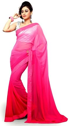 Best Farewell #Sarees from #Snapdeal for College Graduates - De Marca Pink Faux Georgette Border Work Appealing Saree