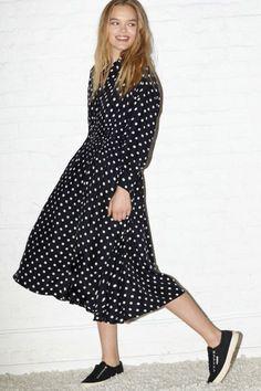 Polka Silk Long Shirt Dress