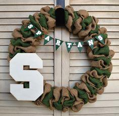 Michigan State Burlap Wreath | MSU Wreath https://www.etsy.com/listing/227956031/michigan-state-university-burlap-wreath