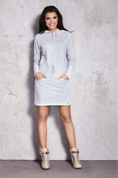 Rochie sport din bumbac cu gluga, rochii sport casual High Neck Dress, Trending Outfits, Model, Sweaters, Clothes, Dresses, Infinite, Fashion, Sweater Dress Outfit