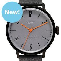 SVT-CN38 (grey/black) watch by TSOVET. Available at Dezeen Watch Store: www.dezeenwatchstore.com